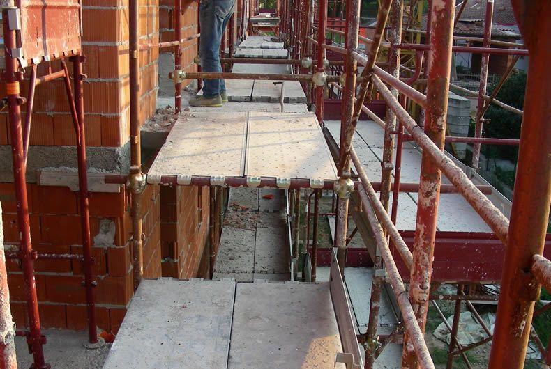 Foto Scattata Su Un Ponteggio Durante Una Ristrutturazione Edificio
