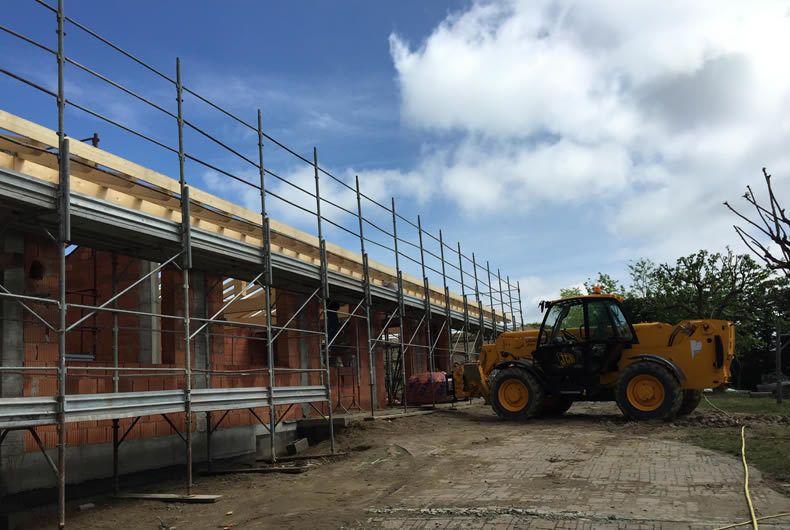 Impalcatura durante costruzione abitazione